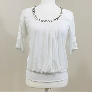 Azul Fashion boutique blouse white 3/4 sleeves